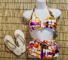 Beach Joy Women's Bikini & sz 7 Flip Flop Set Ruffled Skirt 2 Piece Bikini MED