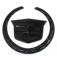 "4"" Rear Black Cadillac Wreath Crest Tailgate Trunk 3D Logo Emblem Sticker"