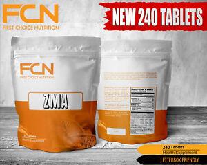 ZMA - 240 TABLETS - Zinc - Magnesium - Vitamin B6 - Testosterone - PCT - Booster