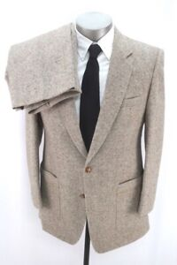 mens brown fleck VINTAGE 80s TWEED 2pc Pant Suit wool two button classic 40 S