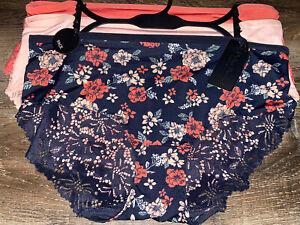 Delta Burke ~ Women's Brief Underwear Panties Polyester Floral 3-Pair Lace ~ 1X