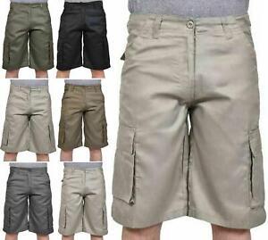 Mens Cargo Shorts Twill Cotton Bermuda Combat Pocket Lightweight Casual Shorts