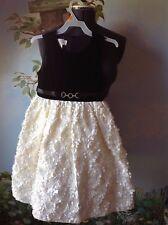 American Princess Girls Black/Cream Brooch Rosette Skirt Occasion Dress Size 8