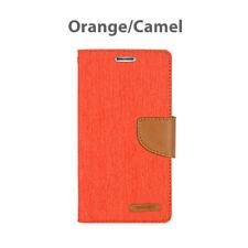 iPhone X 8 7 6 5 SE Plus  Hard Leather Wallet Card Case Canvas Flip Cover