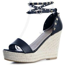 Ladies Strappy Sandals Wedge Heel Court Shoes Summer