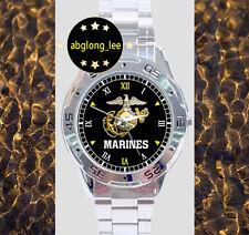 NEW US Marine Corp CUSTOM CHROME MEN'S FINISH WATCH WRISTWATCHES