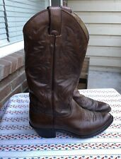 AWESOME EUC DARK BROWN WOMEN'S COWGIRL WESTER BOOT JUSTIN 6.5 SLIP ON NICE TALL