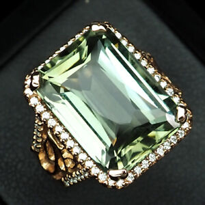SPHENE SMOKY IMPERIAL 13.20 CT. SAPP 925 STERLING SILVER ROSE GOLD RING SZ 7