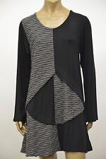 PRISA DESIGNS EUROPEAN LAYERED JERSEY WAVE PULLOVER TUNIC BLOUSE BLK GRY Sz 0