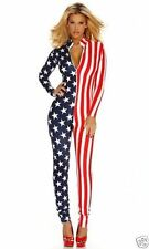 Women Sexy American Flag Stars and Stripes Jumpsuit - Catsuit - Play suit 10-12