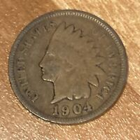 FREE SHIP! VG 1904 Indian Head Cent -117 Year Old Penny - Philadelphia Coin -L3