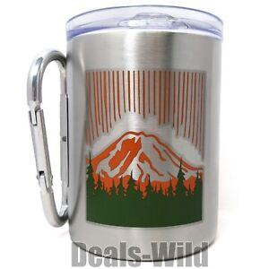 Camping Hiking Mug Stainless Steel 17oz Lid Folding Carabiner Handle - Pick One