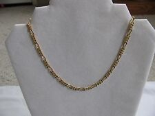 "VINTAGE GOLD OVER 925 STERLING SILVER FIGARO CHAIN NECKLACE 15 3/4"" ITALY"