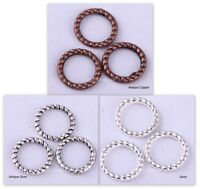 60Pcs Tibetan Silver Twist-Ring Charm Link Rings Finding For diy 8mm