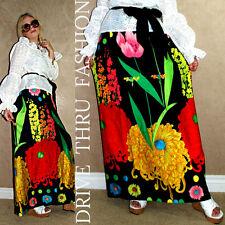 Vtg 60's-70's Psychedelic Hippie HAWAIIAN Festival FLORAL Boho Maxi dress Skirt