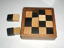 Devils Chessboard wood brain teaser puzzle 16pc