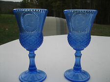 Blue Fostoria Cameo Goblets Pair George & Martha Washington Avon (#10192)