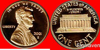 2001 S Lincoln Cent Deep Cameo Gem Proof