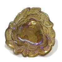 Vintage Candy Dish Loganberry Marigold Carnival Glass Indiana Grape & Leaf Bowl