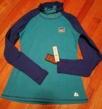 New~ Womens RBX Performance Long Sleeve Running Shirt Turtleneck Blue Teal Large