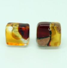 Amber, Red and Bronze Handmade Authentic Murano Venetian Glass Stud Earrings