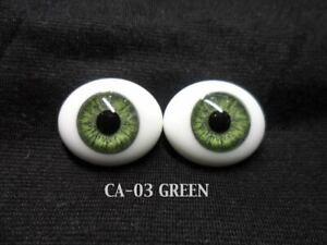 Pabol 18 MM CA03 Green Glass Eyes Oval Flatback for reborns