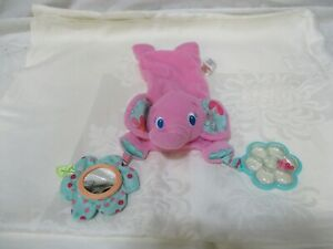 Bright Starts Elephant Pink Baby Rattle Mirror Infant Plush Toy Fun Flowers Soft
