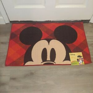 Disney Mickey Mouse Red Plaid Holiday Christmas Accent Rug NWT  20x32