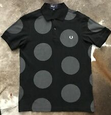 Black Fred Perry Polka Dot Slim Fit S/S Polo Shirt Size S