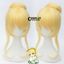 Love Live!Eli Ayase Blonde Long 45cm Wavy Basic+30cm Buns Anime Cosplay Wig+Cap