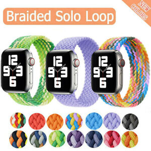 Braided Solo Loop Nylon Band Strap For Apple Watch Series 6 5 4 3 SE 38/40/44