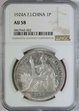 1924 A French Indo China 1 Piastre Silver Coin NGC Graded AU58