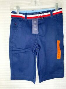 Tommy Hilfiger Boys Striped Belted Shorts - Pick Color or Size - New With Tag