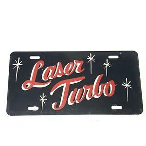 Chrysler Laser Turbo Vintage Painted Metal License Plate Black Red White
