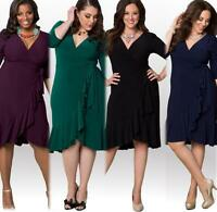 Fashion Large size Women 1/2 Sleeve deep V-Neck Cocktail Party dress SJ0031