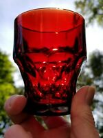 Anchor Hocking Georgian Ruby Red 5oz Flat Tumblers / Juice Glasses 6pc's