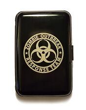 Zombie Outbreak Response Team Hazard Sign Black Aluminum Hard Credit Card Wall