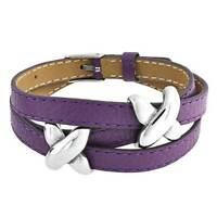 Love X Kisses Slide Charm Wrap Bracelet Genuine Purple Leather Stainless Steel