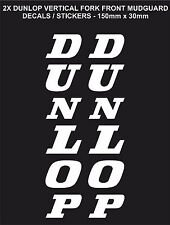Vertical DUNLOP Stickers / Decals for Fork Front Mudguard X2 (150mm x 30mm)