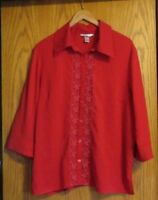 C.J. Banks Women's 2X button up red dress shirt with flowers 3/4 sleeve