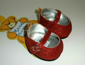 Build a Bear RED SPARKLE GLITTER SHOES Dorothy's RUBY SLIPPERS Wizard of Oz