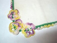 Vintage Linen Hankie Hand Crocheted Pansies Corner & Tatting Edge 11 1/4 Sq
