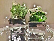 2er Set Keramik Vase Würfen Cube Blumenvase Tischvase Dekovase Silber Shabby