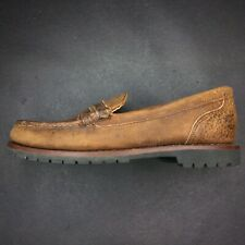 Timberland Mens Leather Brown Distressed Comfort Slip On Penny Loafers Moc Toe 9