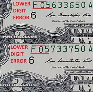 RADAR Serial Number CU $2 Bills / Notes - NEAR CONSECUTIVE + LOW DIGIT ERRORS