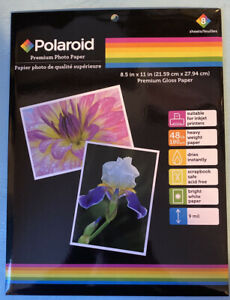 1 packet 8 sheets of polaroid premium gloss photo paper 8.5 x 11 inches