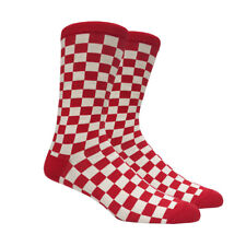 Mens Red and Off White Checkered Socks Checkerboard Checker Classic - 1 Pair