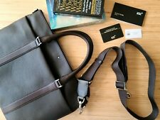 NWT Montblanc Mens dark brown Leather briefcase crossbody Bag