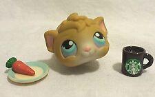 Littlest Pet Shop Guinea Pig #157 Tan  w/ Lavender Blue Eyes and Starbucks Mug