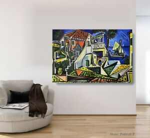"""Pablo Picasso Oil Painting Mediterranean Hand-Painted Art on Canvas 30""""x48"""""""